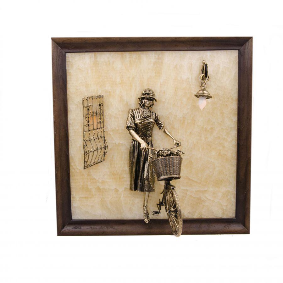 """Картина """"Велосипедистка""""  с подсветкой"""