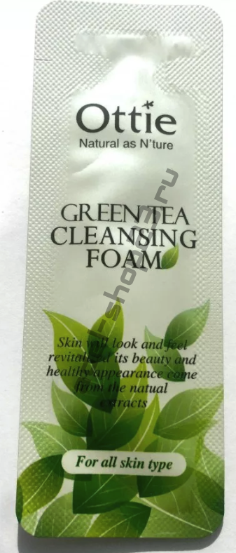 Ottie - пенки для лица с экстрактом зеленого чая Green Tea Cleansing Foam Пробник