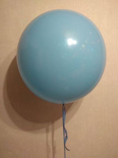 Голубой метровый шар латексный с гелием