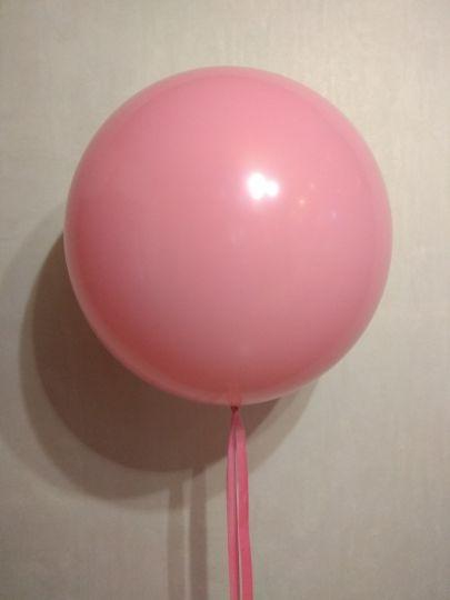Розовый метровый шар латексный с гелием