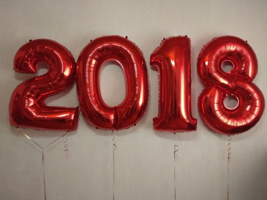 Год (набор из 4 однотонных цифр) 2019 фольгированный шар с гелием