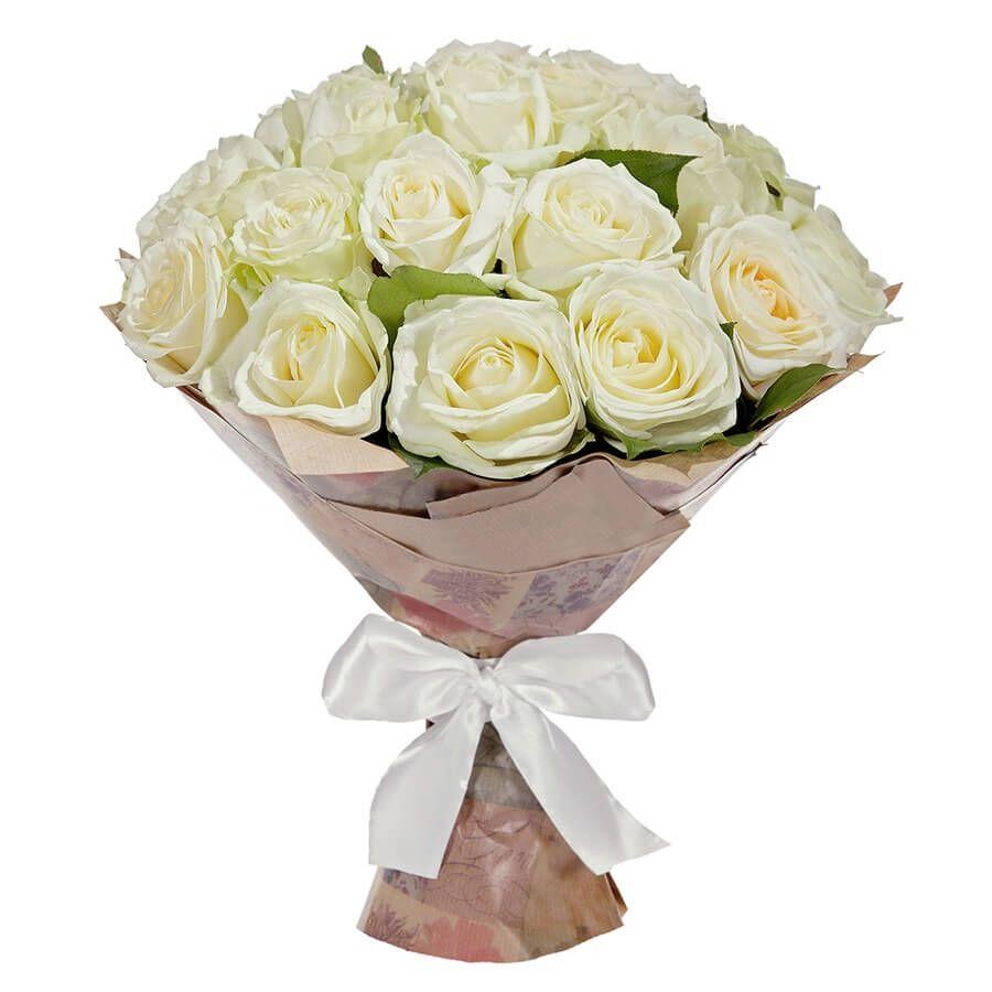 Букет из 25 белых роз 60 см «Элегантность»