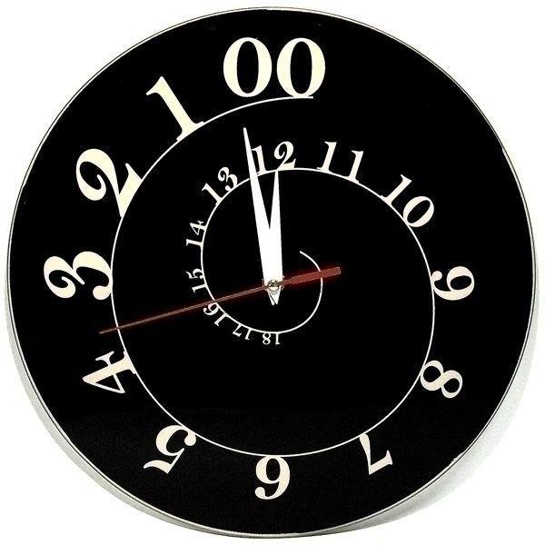 Часы АнтиЧасы Спираль черная стеклянные