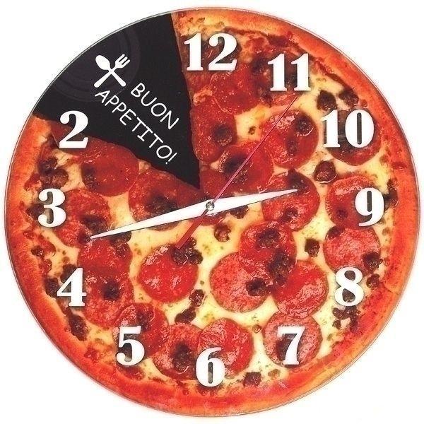Часы АнтиЧасы Пицца Стеклянные
