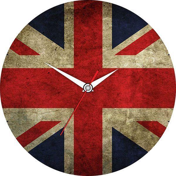 Часы Английскияй флаг D=28см стеклянные