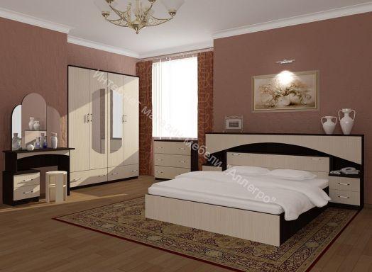 """Спальня """"Камелия"""" с прикроватным блоком ЛДСП"""