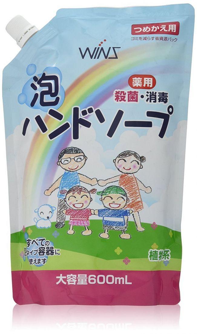"""ND Семейное жидкое мыло-пенка для рук """"Wins Hand soap"""" с экстрактом Алоэ Вера с антибактериальным эффектом 600мл"""