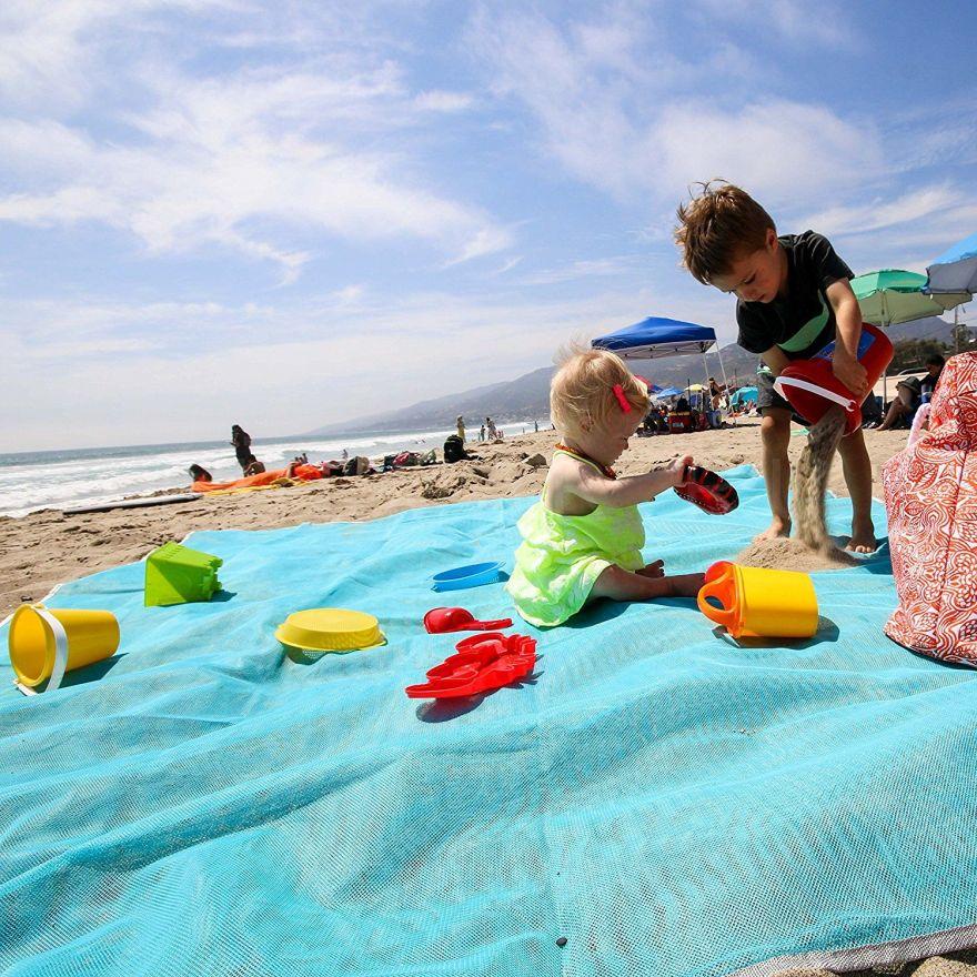 Пляжный Коврик Sand Free Mat, 200х150 см  голубой