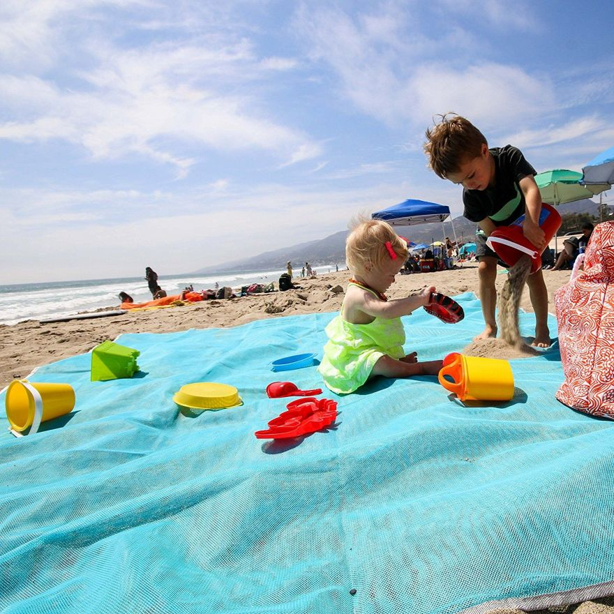 Пляжный Коврик Sand Free Mat антипесок, 200х150 см  голубой