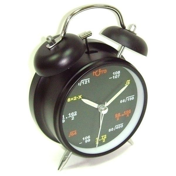 Часы будильник D-11,6 см формулы на циферблате черный корпус