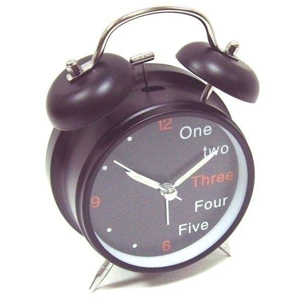 Часы будильник D-11,6 см One,Two,Three черный корпус