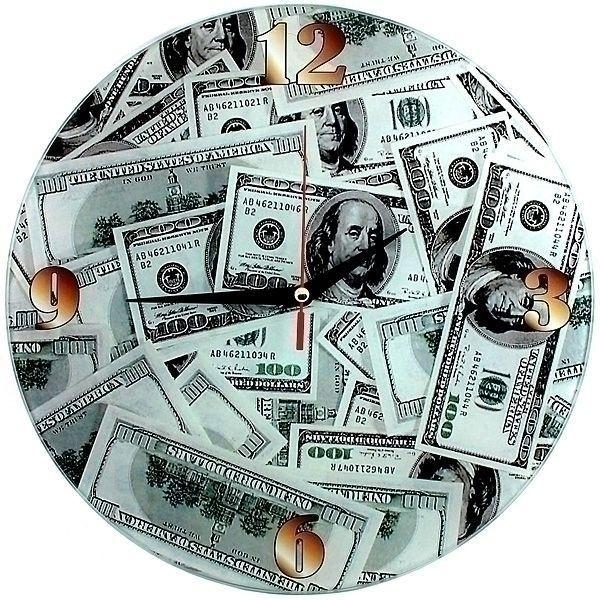 Часы Доллары d=28см стеклянные