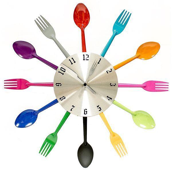Часы Вилки-ложки цветные