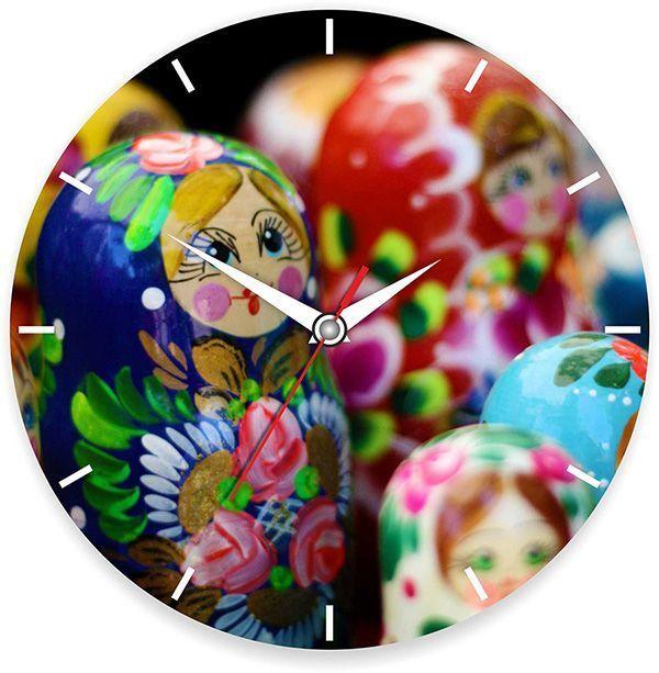 Часы Матрешки d=28см стеклянные