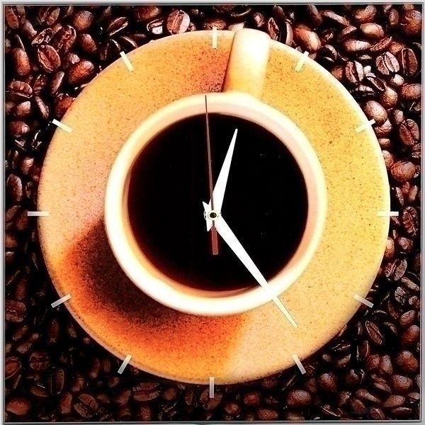 Часы Кофе 28х28 стеклянные