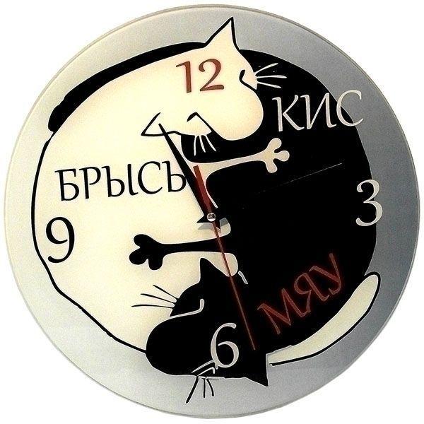 Часы Кис Мяу Брысь стеклянные