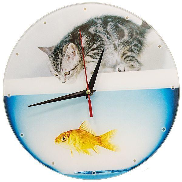 Часы настенные Котенок и аквариум стекло