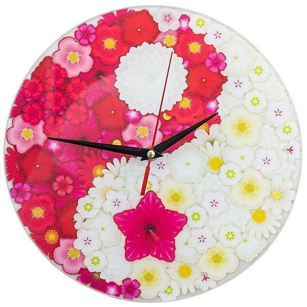 Часы настенные Инь Янь цветы стекло