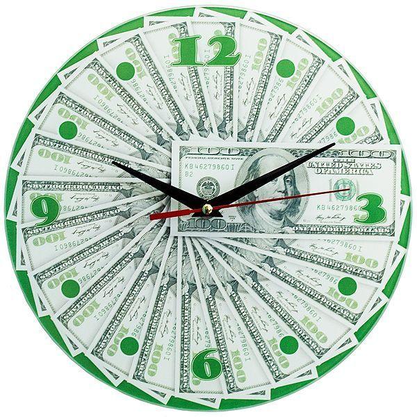 Часы настенные 100 долларов стекло