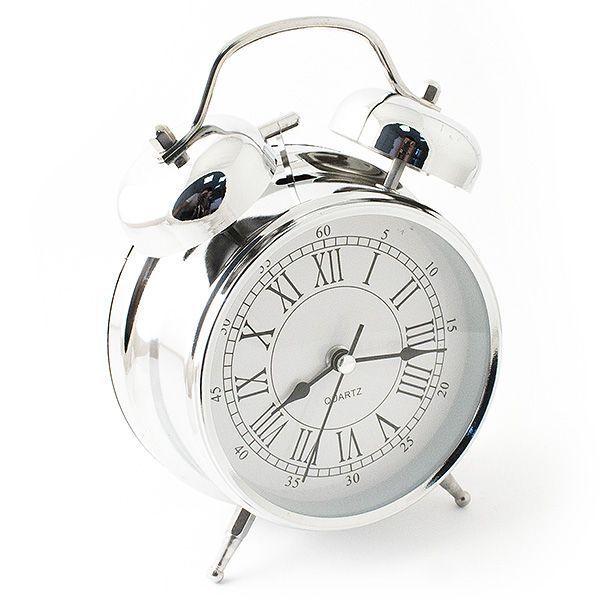 Часы настольные D=10 см цвет хром