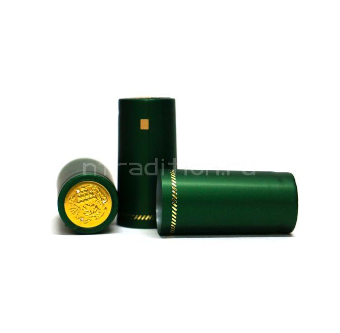 Термоусадочные колпачки, 36 шт (зеленый металлик)