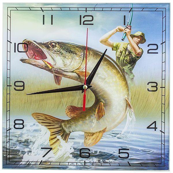 Часы настенные Рыбалка стекло