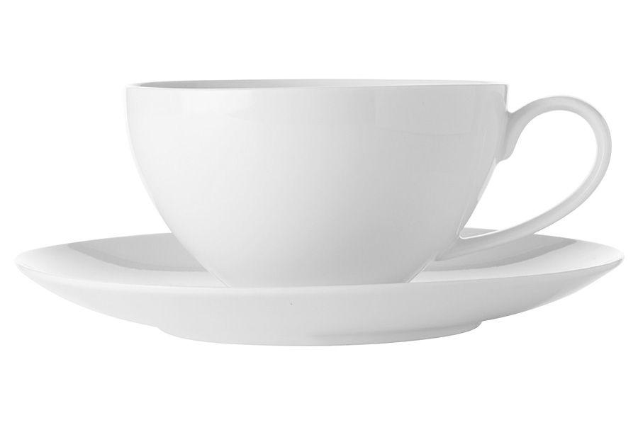 """Чашка с блюдцем большая """"Белая коллекция"""", 0.4 л, без упак."""