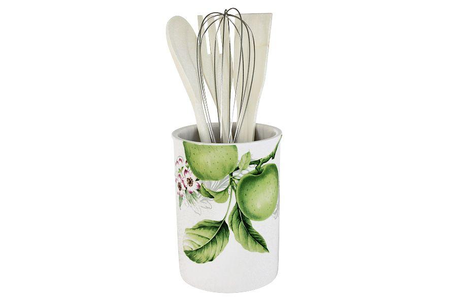 """Банка-подставка с кухонными инструментами (3 лопатки, 1 венчик) """"Зеленые яблоки"""", 27 см"""