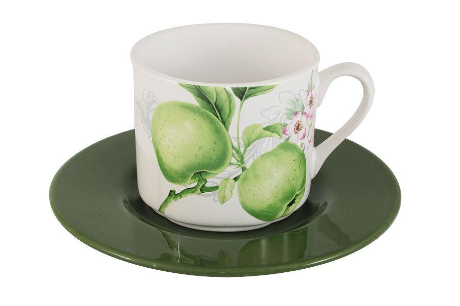 """Чашка с блюдцем """"Зеленые яблоки"""", 0.25 л"""