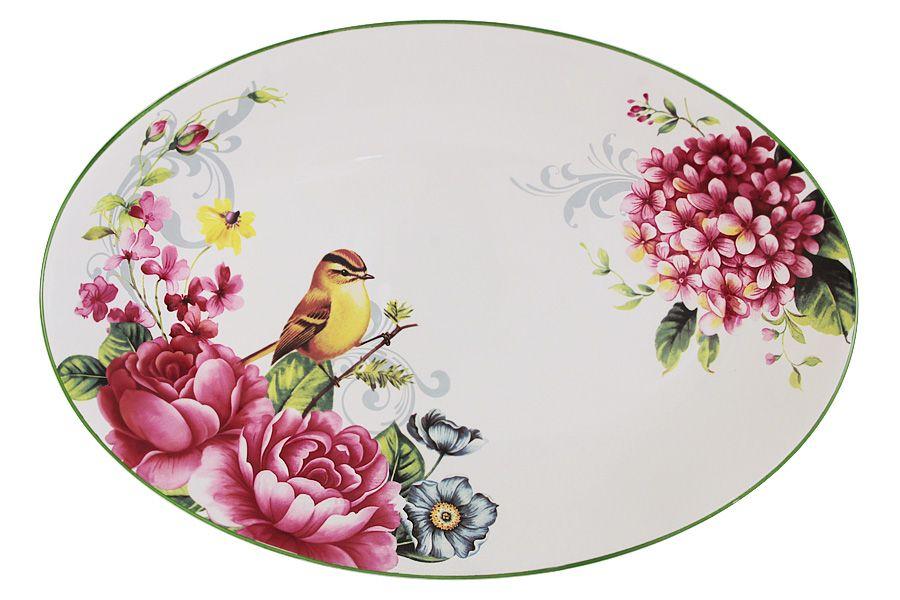 """Блюдо овальное """"Цветы и птицы"""", 38х26 см"""