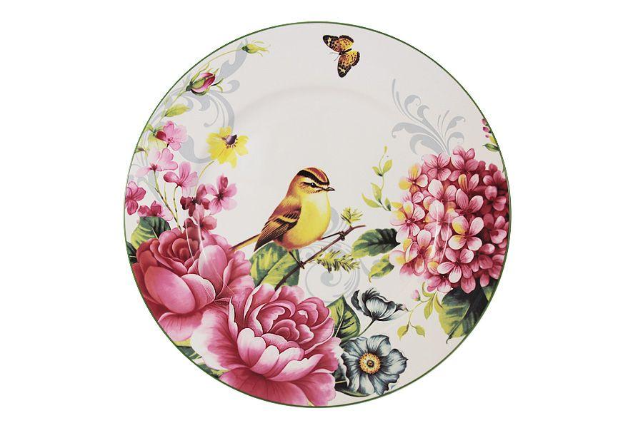 """Тарелка обеденная """"Цветы и птицы"""", 27 см"""