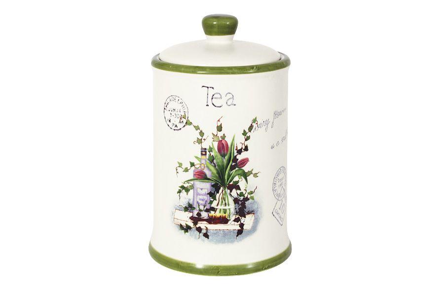 """Банка для сыпучих продуктов (чай) """"Букет"""", 18 см, 0.65 л"""