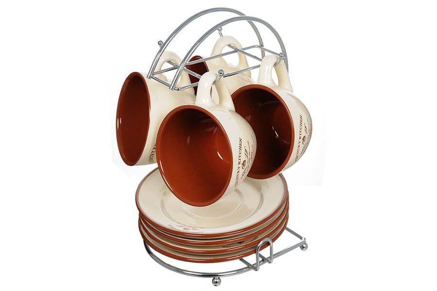 """Чайный набор на 4 персоны """"Кухня в стиле Кантри"""", на металлической подставке, 0.2 л"""