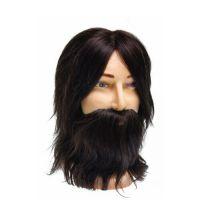 """DEWAL Голова учебная муж.""""шатен"""", натурал. волосы с усами и бородой, 35 см"""