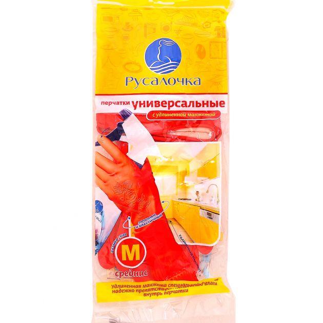 Перчатки универсальные с удлиненной манжетой  РУСАЛОЧКА средние М 12*12