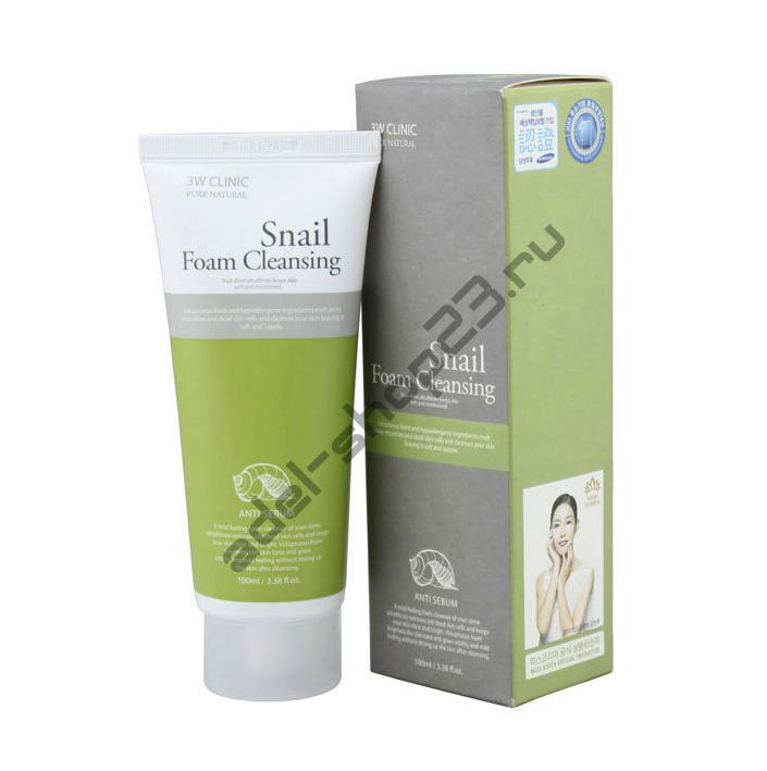 3W Clinic - Snail Foam Cleansing Anti Sebum – пенка с секретом улитки