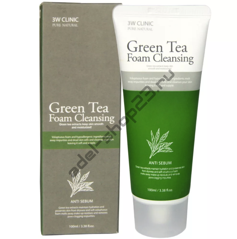 3W Clinic - Green Tea Foam Cleansing Anti Sebum – пенка с экстрактом зеленого чая