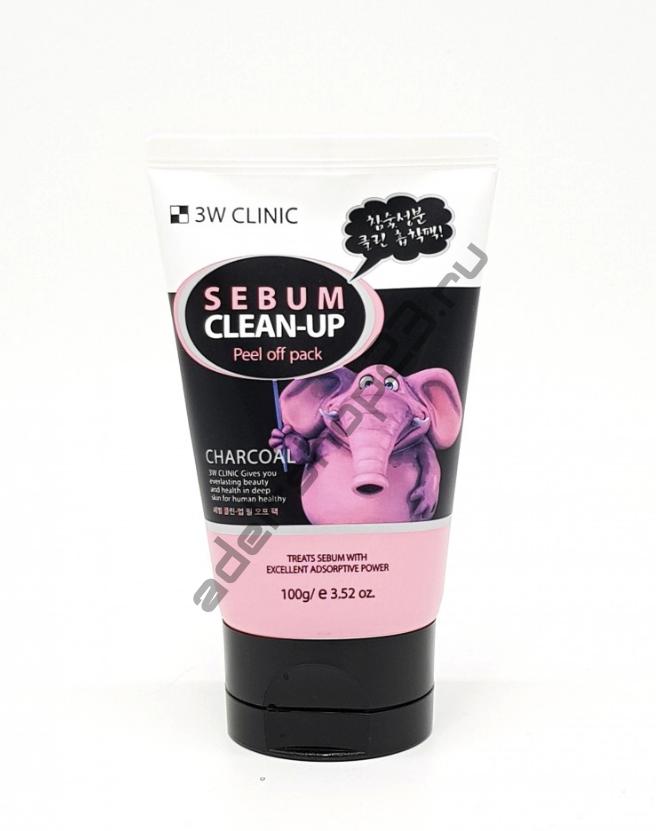 3W Clinic Charcoal Sebum Clean-Up Peel Off Pack 100g - Маска плёнка с чёрным углём для cебум контроля кожи 100г