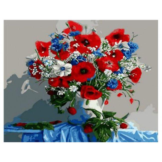 Роспись по холсту Алые маки и полевые цветы 30х40см