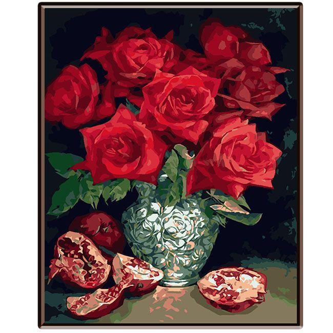 Роспись по холсту Алые розы и гранат 30х40см