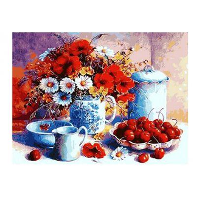 Роспись по холсту Вишня и букет цветов 40х50см