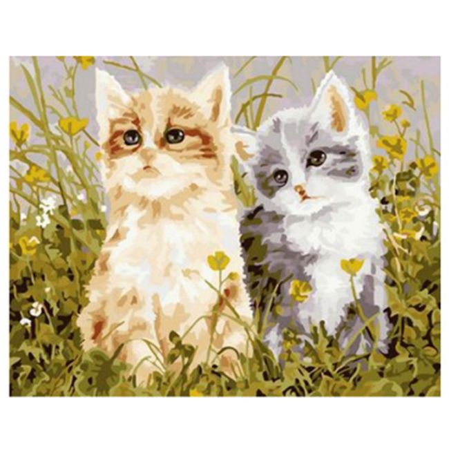 Роспись по холсту Два котенка 30х40см