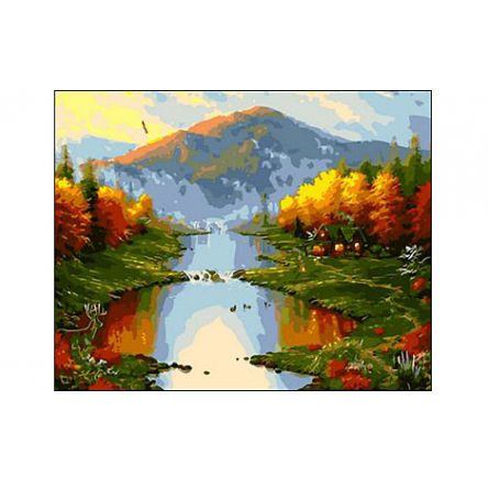 Роспись по холсту Осень в горах 40х50см
