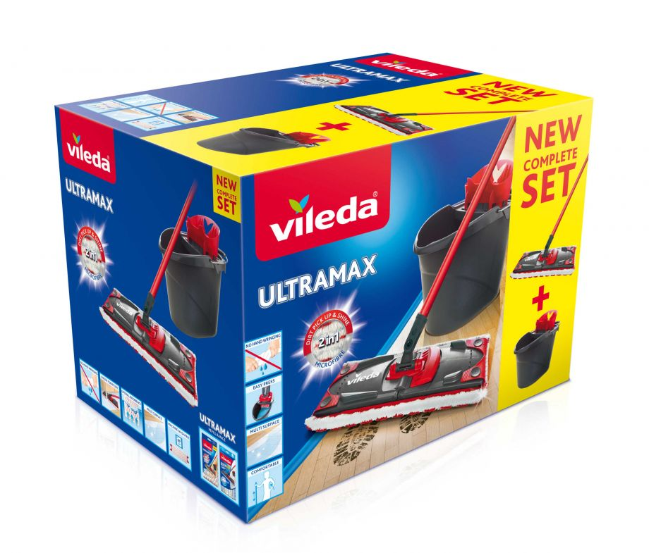 Vileda Набор ULTRAMAT в коробке (швабра со складной ручкой 120 см, мат и ведро)