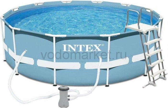 366х122см (28726) Бассейн каркасный INTEX + насос-фильтр, лестница