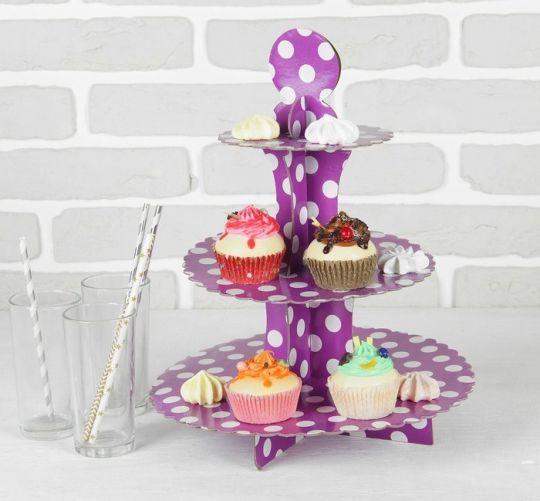 Этажерка для капкейков фиолетовая в горох