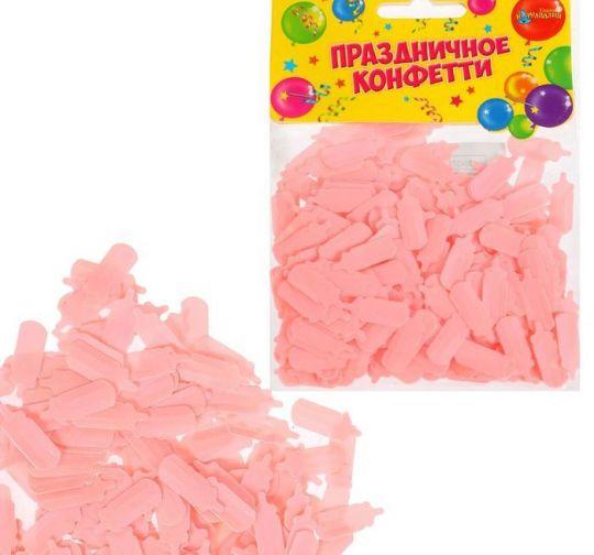 Конфетти для декора розовые бутылочки