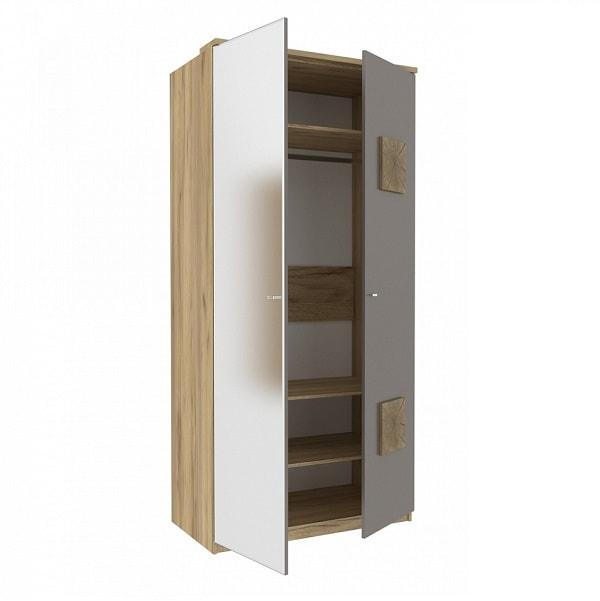 Шкаф двухстворчатый «Фиджи» с зеркалом и декоративными накладками