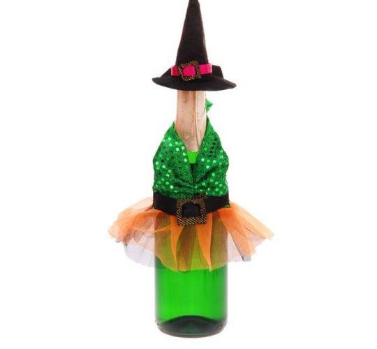 Одежда для бутылок Ведьмочка в зеленом