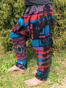 Теплые этнические штаны зуавы, чёрные с красным и голубым (Москва)